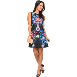 Clothing Women Short Dresses 101 Idees Dress A2611 Black Woman Spring/Summer Collection 2018 Black