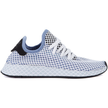 Shoes Women Trainers adidas Originals Deerupt white and blue mesh Sneaker Blue