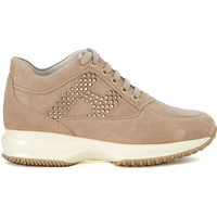 Shoes Women Trainers Hogan Interactive ginger leather sneaker with lasered H Brown