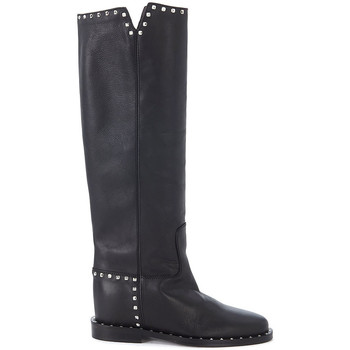 Shoes High boots Via Roma 15 black leather boots with studs Black