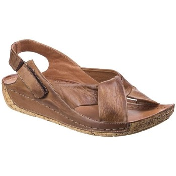 Shoes Women Sandals Riva Leona Leather Womens Low Wedge brown
