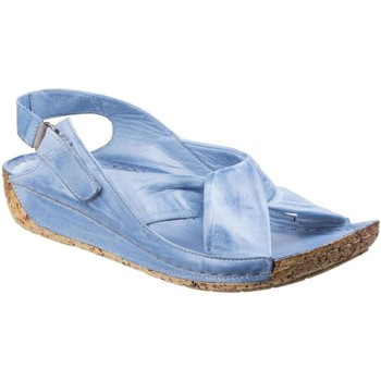 Shoes Women Sandals Riva Leona Leather Womens Low Wedge blue