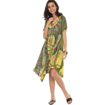 Clothing Women Short Dresses Couleurs Du Monde Dress OLIVIA Green / Yellow Woman Spring/Summer Collection 2018 Green