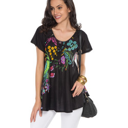 Clothing Women Tops / Blouses Couleurs Du Monde Blouse DIANA Black / Multicolor Woman Spring/Summer Collection Black
