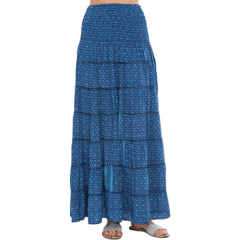 Clothing Women Trousers Couleurs Du Monde Skirt MAEVA Navy blue / Turquoise Woman Spring/Summer Collectio Navy blue