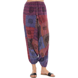Clothing Women Wide leg / Harem trousers Couleurs Du Monde Sarouel FANNY Purple Woman Spring/Summer Collection 2018 Purple