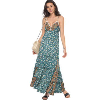 Clothing Women Long Dresses Couleurs Du Monde Dress JULIA Green Woman Spring/Summer Collection 2018 Green