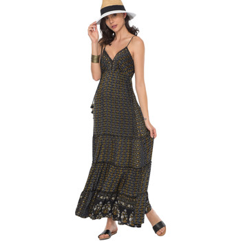 Clothing Women Long Dresses Couleurs Du Monde Dress JULIA Black / Gold Woman Spring/Summer Collection 2018 Black