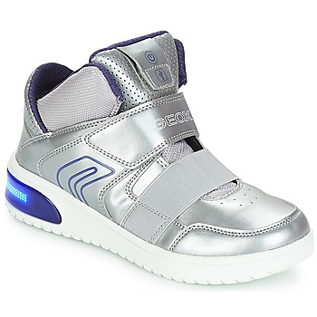 Shoes Girl Hi top trainers Geox J XLED GIRL Silver
