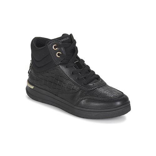 Shoes Girl Hi top trainers Geox J AVEUP GIRL Black / Gold