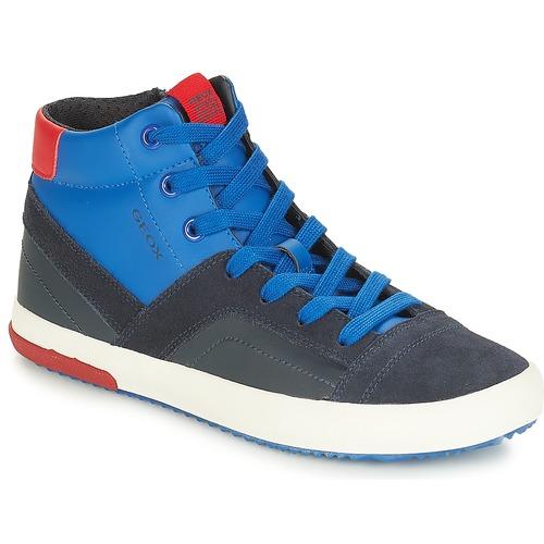 Shoes Boy Hi top trainers Geox J ALONISSO BOY Marine / Red