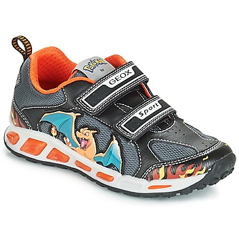 Shoes Boy Low top trainers Geox J SHUTTLE BOY Black / Orange