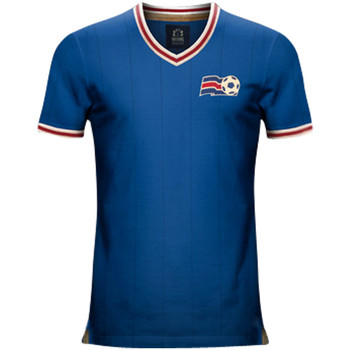 Clothing short-sleeved t-shirts Vintage Football Vintage Iceland Home Soccer Jersey Blue