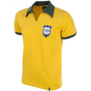 Clothing short-sleeved polo shirts Copa Classics Brazil Home WC 1958 Short Sleeve Retro Shirt 100% cotton Yellow