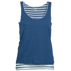 Clothing Women Tops / Sleeveless T-shirts Majestic BLANDINE Marine / White