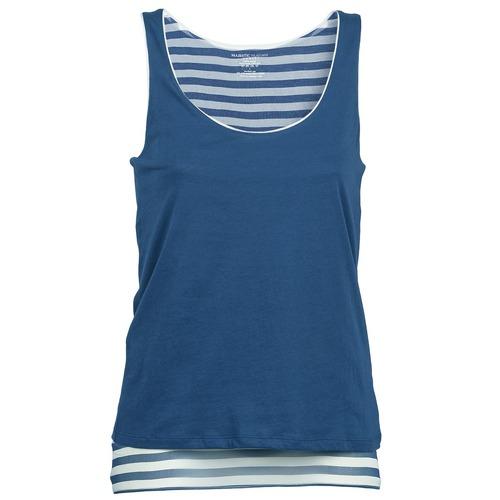 Clothing Women Tops / Sleeveless T-shirts Majestic BLANDINE Marine / White
