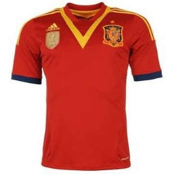 Clothing short-sleeved t-shirts adidas Originals 2013-14 Spain Home Football Shirt (Kids) Red