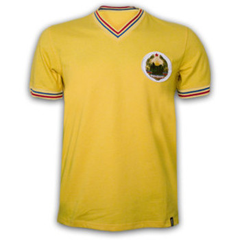 Clothing short-sleeved t-shirts Copa Classics Romania 1973 Short Sleeve Retro Shirt 100% cotton Yellow