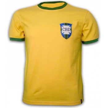 Clothing short-sleeved t-shirts Copa Classics Brazil WC 1970 Short Sleeve Retro Shirt 100% cotton Yellow