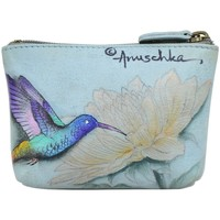 Bags Women Vanity cases Anuschka 1031 Rainbow Birds -Hand Painted Leather Light Bluish Grey/Multicolour