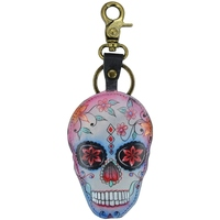 Clothes accessories Women Keyrings Anuschka K0018 Calaveras de Az£car -Hand Painted Leather Bluish Grey/Multicolour