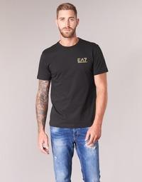 Clothing Men short-sleeved t-shirts Emporio Armani EA7 JAZKY Black / Gold