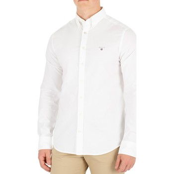 Clothing Men Long-sleeved shirts Gant The Slim Oxford Shirt white
