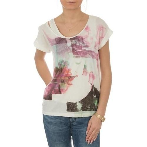 Clothing Women short-sleeved t-shirts Lee T-shirt  Night Cloud Dancer L485AUHA white