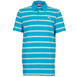 Clothing Men short-sleeved polo shirts Puma FUN STRIPE PIQUE POLO Blue / White / Grey