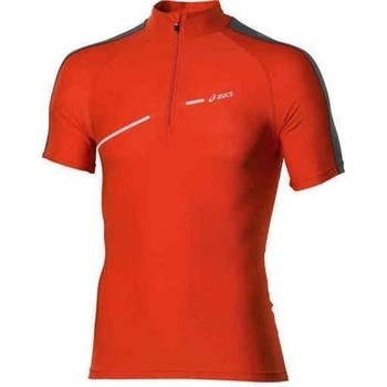 Clothing Women Short-sleeved t-shirts Asics 1/2 ZIP TOP FW12 421016-0540 orange