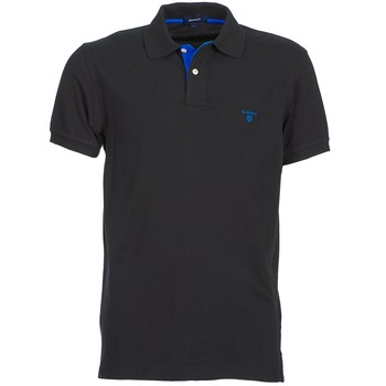Clothing Men short-sleeved polo shirts Gant CONTRAST COLLAR PIQUE SS RUGGER Black