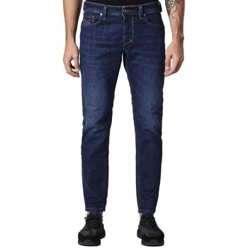 Clothing Men Jeans Diesel Larkee-Beex 084NR Blue-Star Leather Belt Tapered Jeans Dark Blue