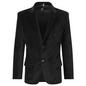 Clothing Men coats De La Creme - Mens Luxury Velvet Formal/Casual Blazer Black