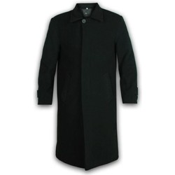 Clothing Men Coats De La Creme Wool and Cashmere Long Winter Coat Black