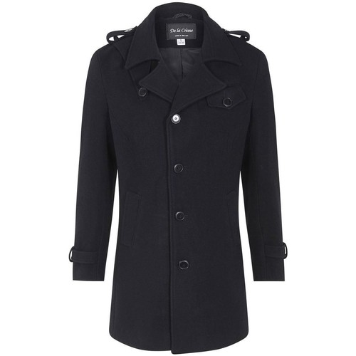 Clothing Men coats De La Creme Wool Mix Military Style Winter Coat Black