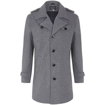 Clothing Men coats De La Creme - Men's Wool Mix Military Style Winter Coat Grey
