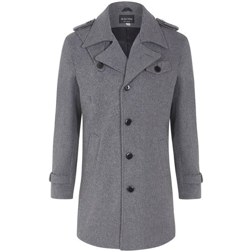 Clothing Men coats De La Creme Wool Mix Military Style Winter Coat Grey