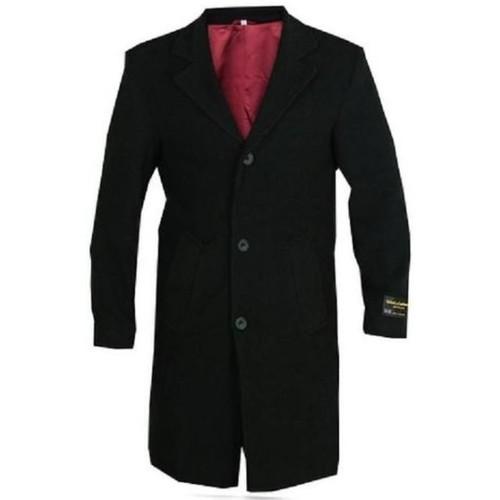 Clothing Men coats De La Creme Wool and Cashmere Winter Coat Black