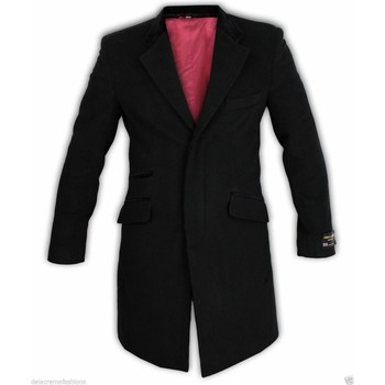 Clothing Men coats De La Creme - Men's Wool & Cashmere Velvet Trim Crombie Coat Black