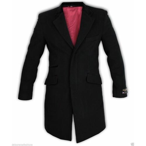 Clothing Men Coats De La Creme Wool & Cashmere Velvet Trim Coat Black