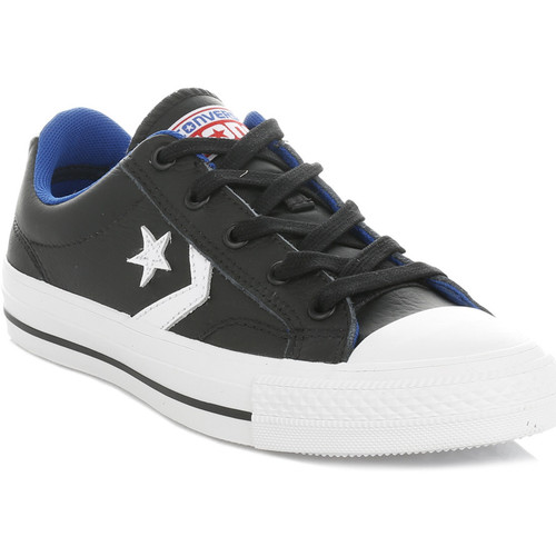 Shoes Low top trainers Converse Mens Womens Black & White Star Player Leather Trainers Black