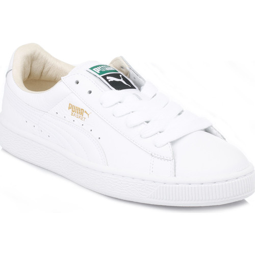 Shoes Men Low top trainers Puma Mens White Basket Classic Leather Trainers White