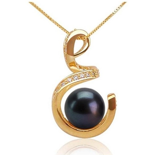 Watches Women Pendants Blue Pearls Black Freshwater Pearl Spiral Pendant and 18K yellow gold plated Multicolored