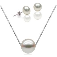 Watches Women Jewelerry sets Blue Pearls Set : White Freshwater Pearls Necklace and Earrings 925 Silver M Multicolored