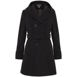 Clothing Women Parkas De La Creme Womens Hooded Winter Belted Coat black