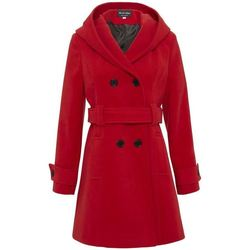 Clothing Women Parkas De La Creme Womens Hooded Winter Belted Coat red