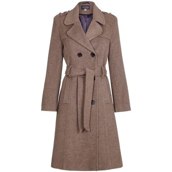 Clothing Women Trench coats De La Creme Wool Belted Long Military Trench Coat Brown