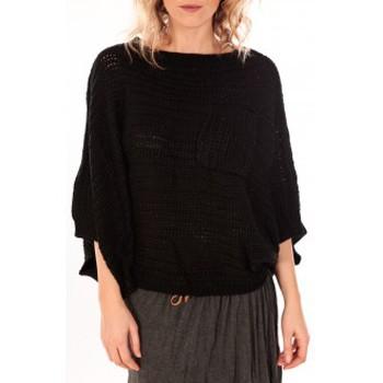Clothing Women Jumpers De Fil En Aiguille Pull Poncho Sophyline T-1614 Noir Black