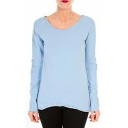 Clothing Women Long sleeved tee-shirts By La Vitrine T-shirt Empiècement Pailleté 2119 Bleu Blue