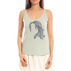 Clothing Women Tops / Sleeveless T-shirts Blune Débardeur Superpower SP-DF01E13 Vert Green